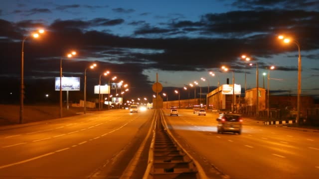 Cars on evening road video