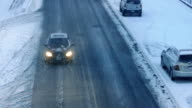 Cars On Snowy Winter Road video