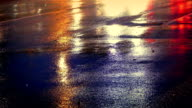 Cars On Wet Road Shining Vibrant Colors video