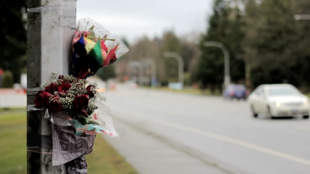 Cars Pass By Accident Memorial Scene video