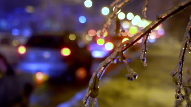 Cars stands in traffic jam because of the freezing rain video