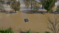 AERIAL: Cars trapped in flooded parking video