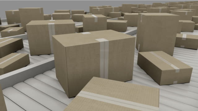 Cartons being transported on conveyors, close up. FullHD seamless loopable clip video