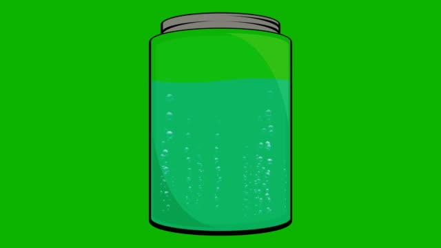 Cartoon Animation of a Jar Fill with Liquid with Bubbles video