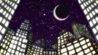Cartoon cityscape at night video