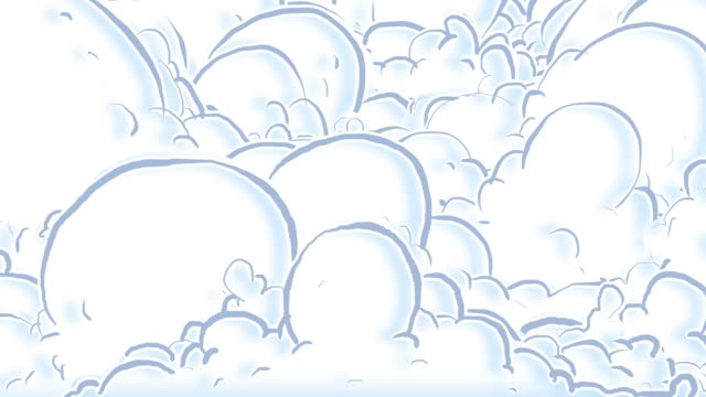 Cartoon clouds part to reveal greenscreen video