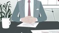 Cartoon Corporate / Businessman Facing Crisis Strock video