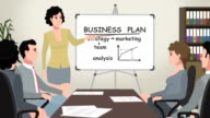 Cartoon Corporate / Woman Shows Business Plan video
