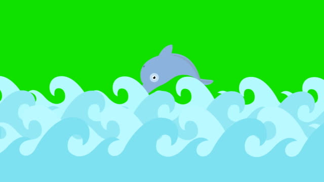 Cartoon Dolphins Jumping Between The Sea Waves On A Green Screen video