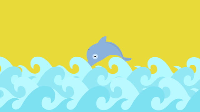 Cartoon Dolphins Jumping Between The Sea Waves On A Summer Sky video