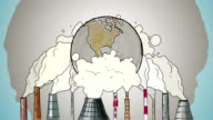 Cartoon Earth globe polluted by smoke from tubes video