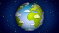 Cartoon Earth Zoom-In HD Loopable video