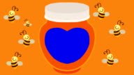 Cartoon Flying Bees and a Honey Jar with a Blue Label video