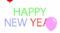 Cartoon Happy New Year with Flying Balloons video