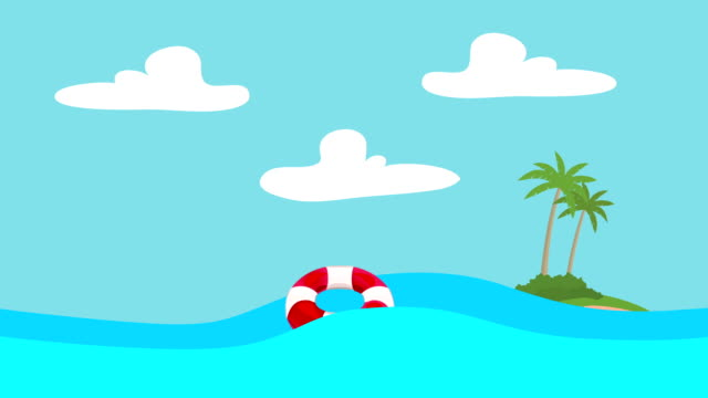 Cartoon Lifebuoy Floating in the Sea with an Island at the Distance video
