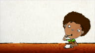 Cartoon little boy with Afro writes a letter video