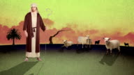 A Cartoon of aYoung Biblical Shepherd Herding Sheep in a Desert video
