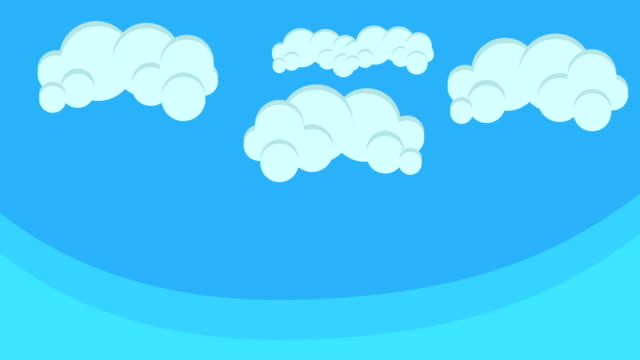 Cartoon Puffy Clouds Hovering in Blue Sky video