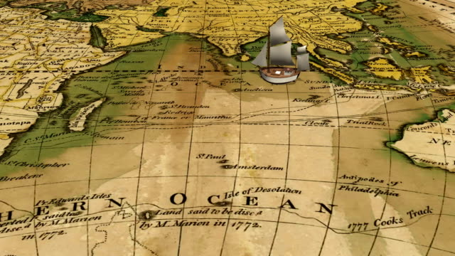 Cartoon sailing ship on ancient world map background video