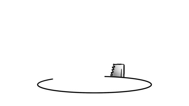 Cartoon saw cuts comedy hole in floor video