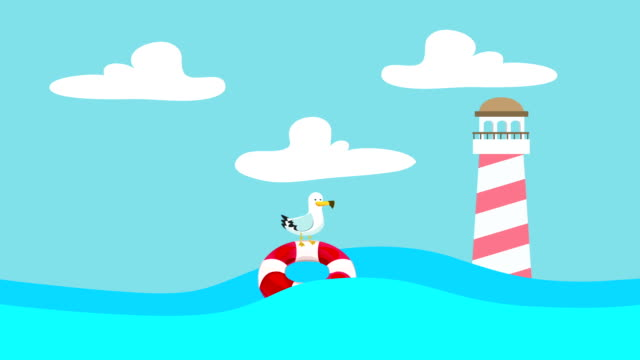 Cartoon Seagull Standing on a Lifebuoy Floating Between the Sea Waves with a Lighthouse video