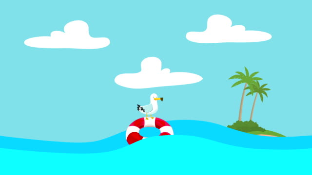 Cartoon Seagull Standing on a Lifebuoy Floating Between the Sea Waves with an Island at the Distance video