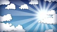 Cartoon sky frame. HD. Loop. video