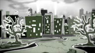 Cartoon style animated gloomy city park scenery – Zoom in video