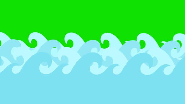 Cartoon Vector Sea Waves On A Green Screen video