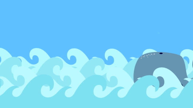 Cartoon Whale Swims In The Sea On A Blue Sky video