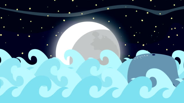Cartoon Whale Swims In The Sea On A Full Moon Night video
