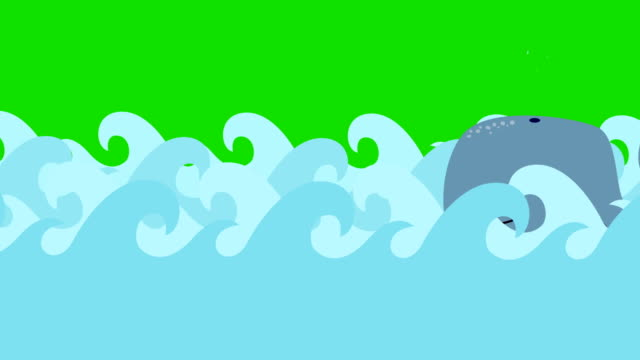 Cartoon Whale Swims In The Sea On A Green Screen video
