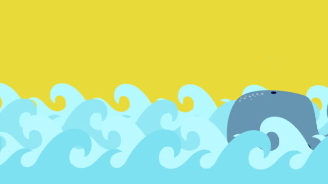 Cartoon Whale Swims In The Sea On A Summer Sky video