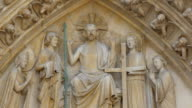 Carved image of Jesus and his apostles on the wall video