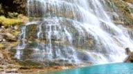 Cascada Cola de Caballo waterfall under Monte Perdido at Ordesa Valley Aragon Huesca Pyrenees Spain video