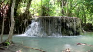 Cascade of seven-tiered waterfall in Erawan National Park in Thailand video