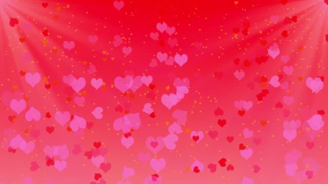 Cascading hearts in 4K loop video