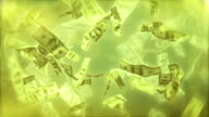 Cash dollar bills spinning loop ready background video