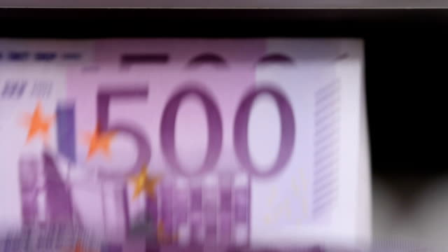 Cash money counting machine. Banknote counter are counting five hundred euro bills video