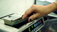 Cash money counting machine. Banknote counter are counting hundred dollar bills. video