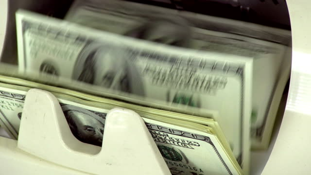 Cash money. Dollar bills counter. video