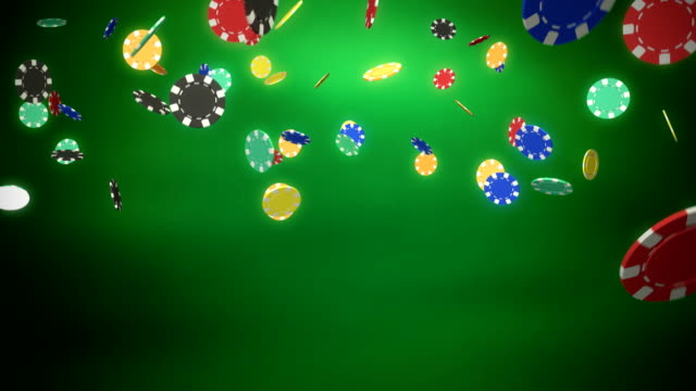 Casino chips dropping green video