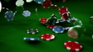 HD: Casino chips / tokens falling video