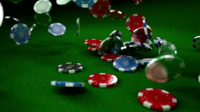 HD: Casino chips / tokens falling video