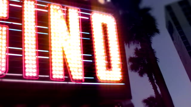 Casino Neon Sign with Flashing Light Bulbs video