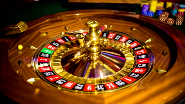 HD: Casino roulette wheel spinning video