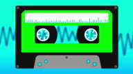 Cassette Tape with audio Waves, Animation video
