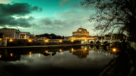 Castel Sant'Angelo and Tiber River at sunset Timelapse video