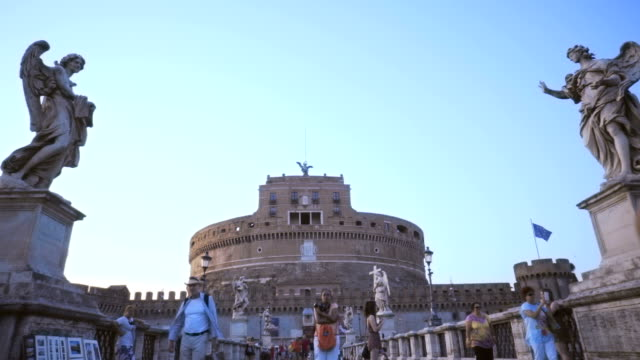 Castel Santangelo fortress and bridge view in Rome, Italy video