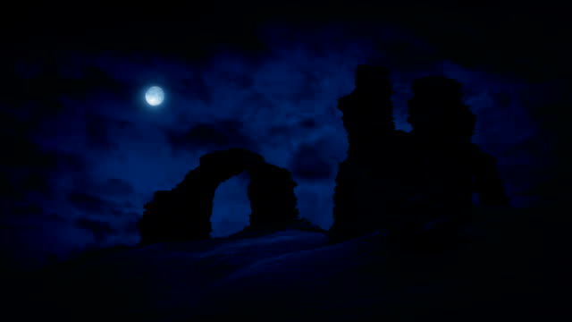 Castle Ruins On Hilltop With Full Moon video